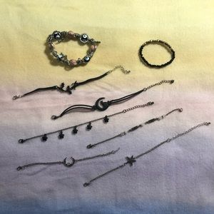 Hot Topic Jewelry - Lot of Witchy Bracelets ! Evil Eye, Moon and star